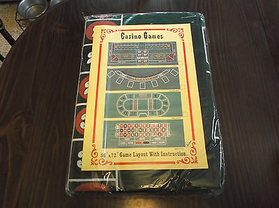 Casino Games Roulette 36x72 Felt Game Layout with Instructions
