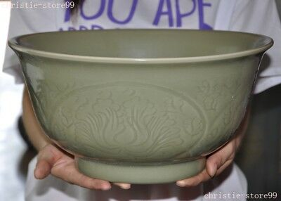 Huge Chinese Longquan Kiln Old Green Porcelain Glaze Flower Statue Tea cup Bowl