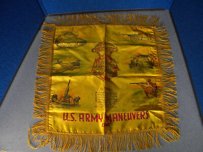 Vintage 1941 WWII US ARMY Military Maneuvers Mother Silk Pillow Sham Cover