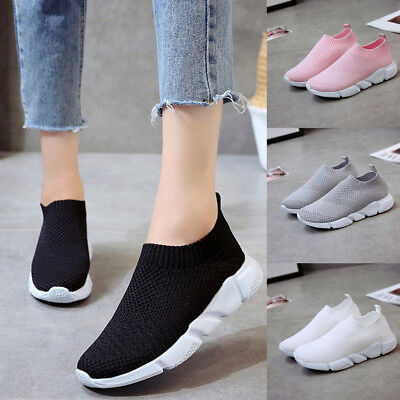 Fashion Women Outdoor Mesh Shoes Casual Slip On Soft Soles Running Sports Shoes