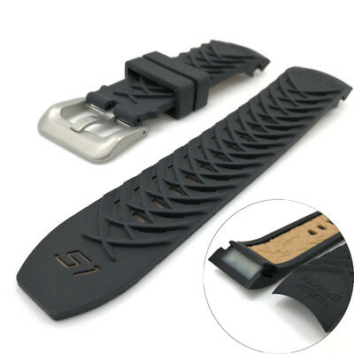 Replacement Black Soft Rubber Watches Bands Wristwatch Straps For INVICTA 24mm