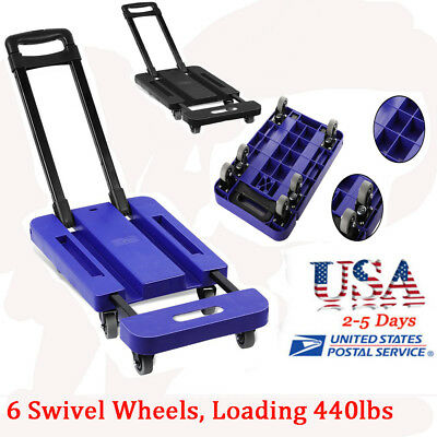 Universal 440LB Hand Truck Dolly Collapsible Cart Luggage Trolley with 6 Wheels