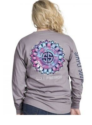 "Adult Simply Southern ""Suck It Up Buttercup"" Long Sleeve Tee in Steel Gray, Deer"