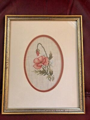 """Beautiful Completed Framed & Matted Linen Cross Stitch-""""Poppy""""- Lovely!"""