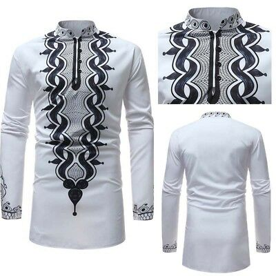 Men African Dashiki Tribal Print Shirt White Succinct Hippie Top Blouse Basic