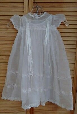 Antique L'Enfant White Embroidered Sheer Christening Dress with Slip