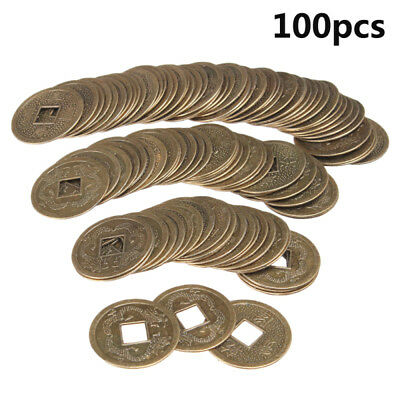 100x Lucky Chinese Feng Shui Brass Coins Fortune Oriental Emperor Qing Money