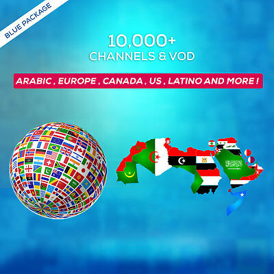 1 Year IPTV SUBSCRIPTION +10000 Ch&VOD ARABIC, EUROPE, LATINO, UK, US, AFRICA