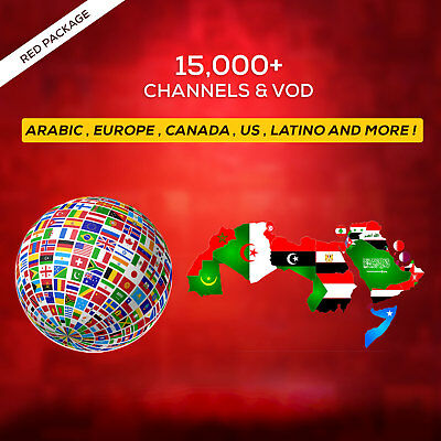 1 Year IPTV SUBSCRIPTION +15000 Ch&VOD ARABIC, EUROPE, LATINO, UK, US, OTHERS
