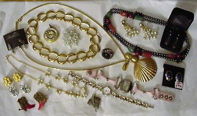 Lot of Vintage Jewelry Necklaces Earrings Watches 24 Pieces Estate