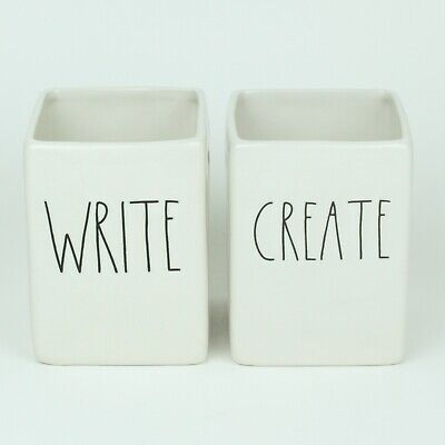 Set of 2 NEW Rae Dunn WRITE CREATE Ceramic Pen and Pencil Holder for Desk LL HTF