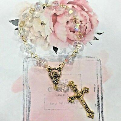 Mini Hand Rosary Crystal Bracelet with Gold Mother Mary and Jesus Cross Car