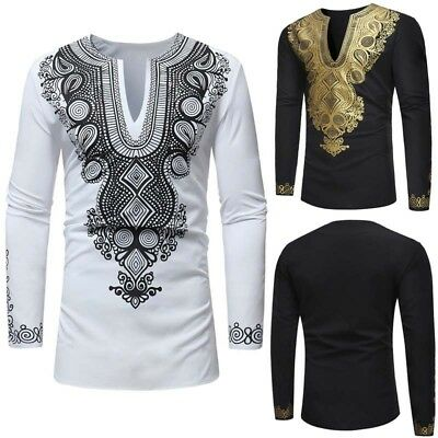Fashion Men Long Sleeve Shirt African Dashiki Tribal Casual Blouse Top T-shirt