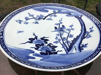 Huge Japanese Charger Plate Blue And White Birds On Branches Leaves And Floral.