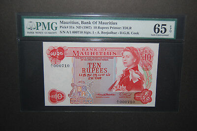 MAURITIUS 1967 10 RUPEES PMG 65 EPQ GEM UNC! 31a, A/1 Low Serial Number!