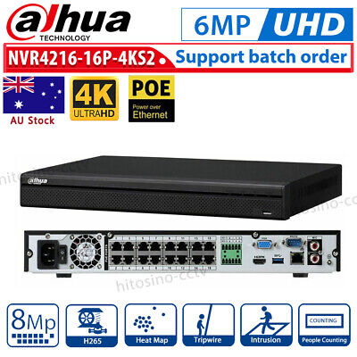 DAHUA 16CH 16 POE NVR 4K NVR4216-16P-4KS2 H.265 Lite Network Video Recorder