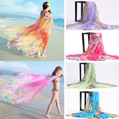 Women Colorful Beach Chiffon Cover Up Sarong Wrap Silky Scarf Dress US