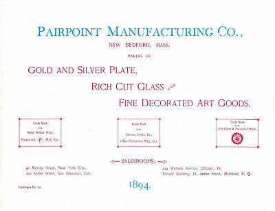 Reprint of 1894 Pairpoint Manufacturing Company Catalog- Revi 1979 w Price Guide