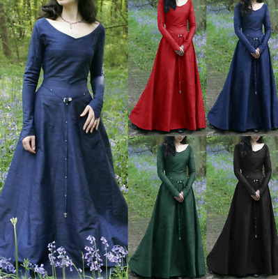 Classical Medieval Costume Cosplay Party Long-Sleeved Round Neck Dress Halloween