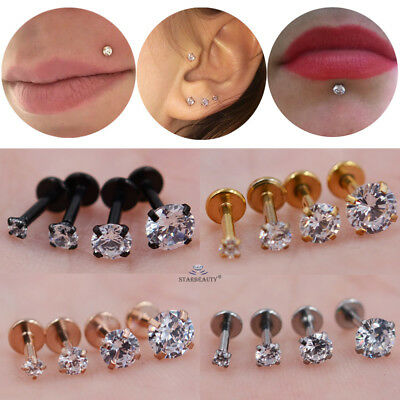 Stainless Steel CZ Helix Labret Cartilage Tragus Ear Lip Bar Stud Piercing