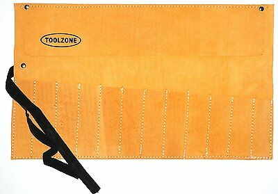 TOOLZONE 12 POCKET LEATHER TOOL ROLL STORAGE 50cm x 30cm CHISEL / SPANNER ROLL