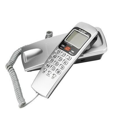 Silver Home Wall-Mount Landline Telephone Dial Corded Caller ID Display FSK/DTMF