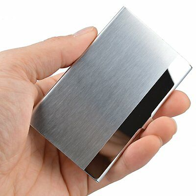 Pocket Stainless Steel & Metal Business Card Holder Case ID Credit Wallet Silver