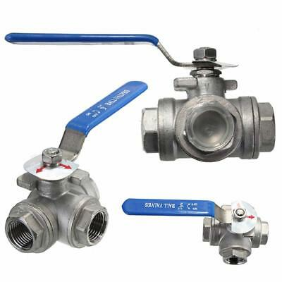 """Q14 DN15 G1/2"""" Female 3-Way L-Port 304 Stainless Steel Ball Valve Water Oil 1pcs"""