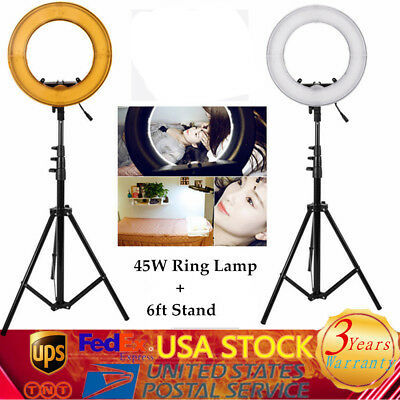 LED Photography Ring Light Dimmable 5500K Lighting Photo Video Lamp + 6ft Stand