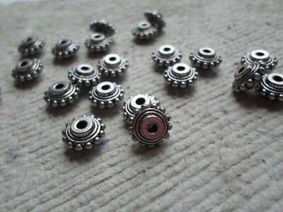 20 x 10mm Tibetan Style Washers - Antique Silver large hole spacers ~ 2mm hole