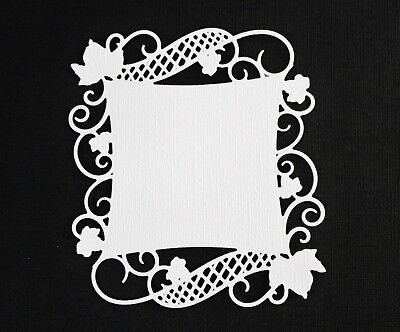 16 White & Pink Spellbinders Curved Square Vine Flourish Die Cuts Card Toppers
