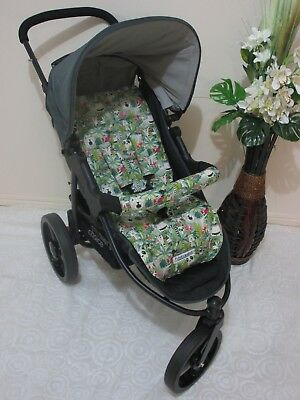 Handmade pram liner set-Jungle animals-100% cotton*Funky babyz