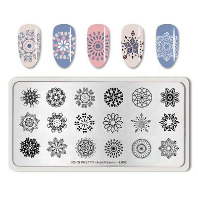 BORN PRETTY Nail Stamping Plates Rectangle Stainless Steel Manicure Decoration