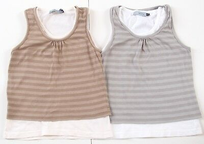 2 x Girls Red Herring Layered Striped Grey Brown Vest Tops T-Shirt Age 9-10