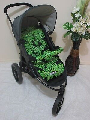 Handmade pram liner set-Monstera leaves -100% cotton*Funky babyz