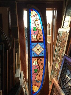 SG 2450 antique stained glass transom window Bevels jewels lots of color 19.5…