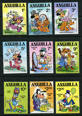Disney Easter 1981 Anguilla #434-42 mnh Mickey Mouse Donald Duck Goofy Pluto