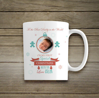 Personalised Photo Mug Gift First Christmas As A Daddy Best Dad Keepsake Special