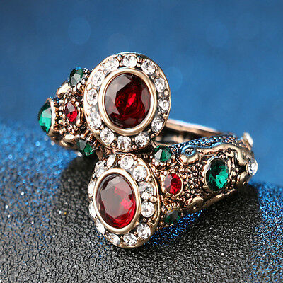 Turkish Red Rings Antique Gold Color Women's Jewelry Double Head Red Gem Stone F