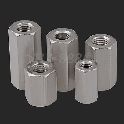 M4 to M24 Hex Connection Nuts Hex Coupling Rod Bar Stud Long Nut A2 304 Stainles