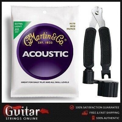 """Martin M170 Acoustic Guitar Strings 10-47 + 3 in 1 String Winder Cutter  """"NEW"""""""