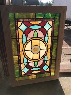 SG 2452 antique Stainglass window Rondell center 24 1/8 x 34.5