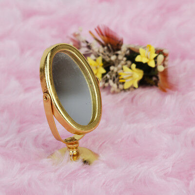 1/12 Dollhouse Miniature Metal Mirror Gold Tone Dressing Table Accessories
