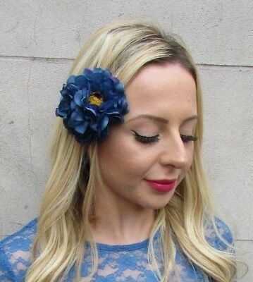 Double Dark Teal Blue Purple Peony Rose Flower Hair Clip Fascinator Races 6144
