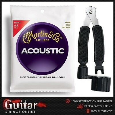 """Martin M140 Acoustic Guitar Strings 12-54 + 3 in 1 String Winder Cutter  """"NEW"""""""