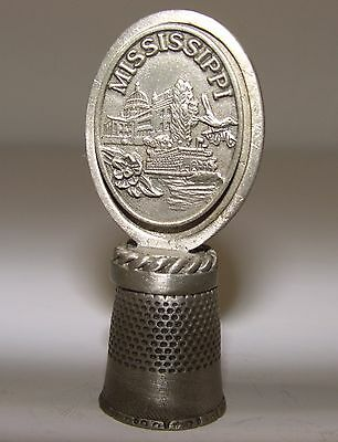 Fort Pewter Souvenir Collectible Thimble - Mississippi