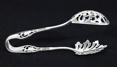 Watson Sterling Silver Tongs * Ice Tongs Pierced Design with Leaf