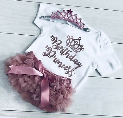 Girl Frilly Tutu Knicker Cake Smash 1st First Birthday Princess Outfit Rose Gold