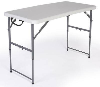 4' Adjustable Height Trade Show Exhibit Folding Display Table - 450lb Capacity