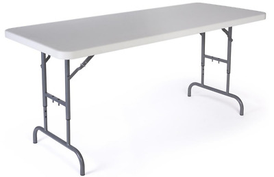 6' Adjustable Height Trade Show Exhibit Folding Display Table - 450lb Capacity